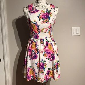 Floral Fit Flare Casual Cocktail Sheath Round Neck